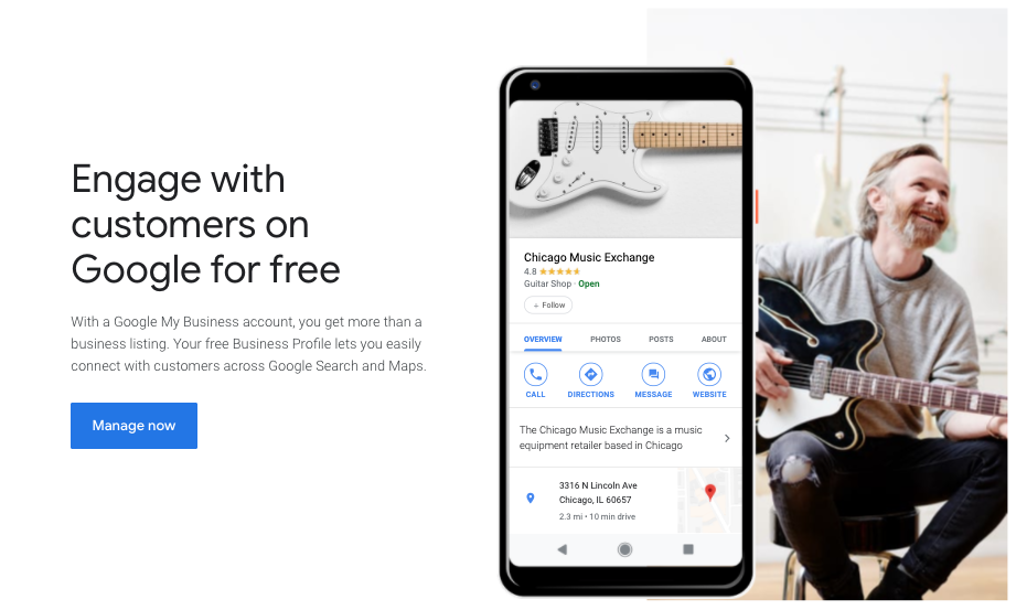 The main image from the Google Business Account set up page