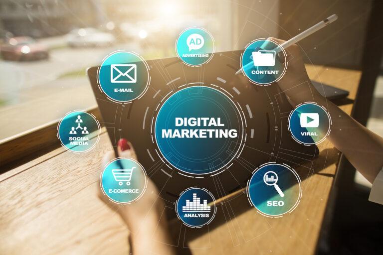 Digital marketing technology concept. Internet. Online. Search Engine Optimisation. SEO. SMM. Video Advertising.