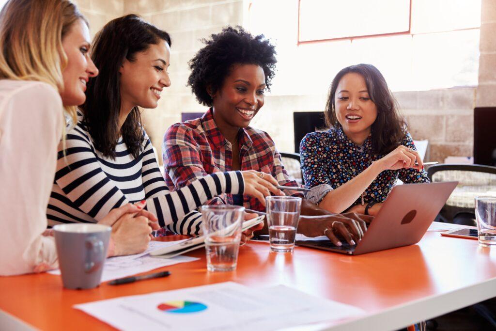 women employees working in marketing