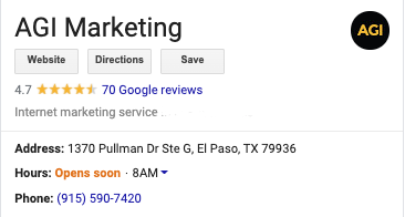 AGI Marketing's Name Address and Phone Number information from Google