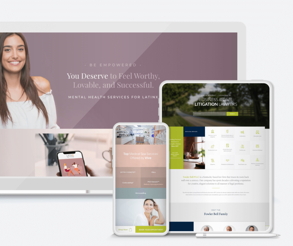 Client websites on desktop, tablet and mobile devices