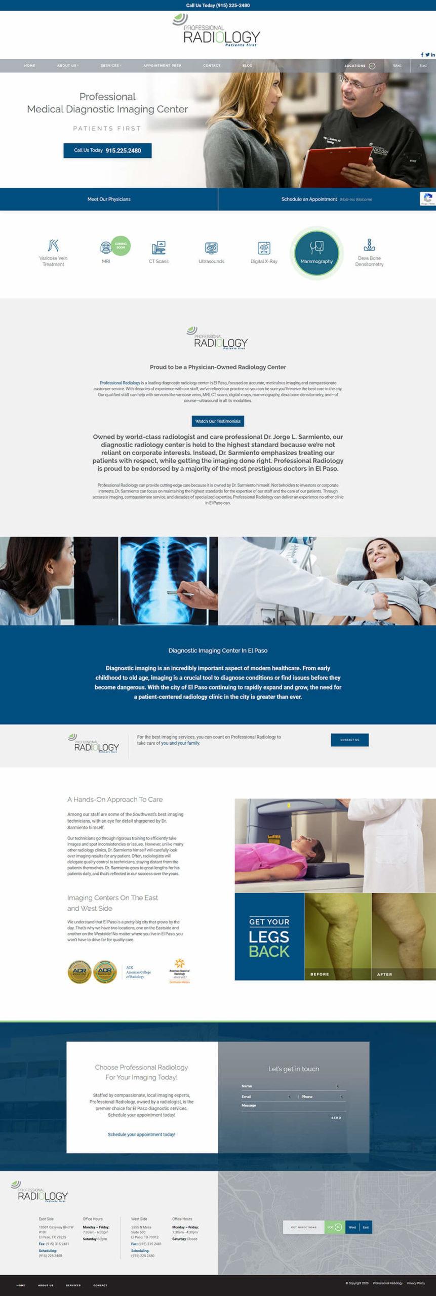 Professional Radiology website layout