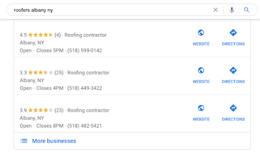 Google Reviews for roofers in Albany, NY
